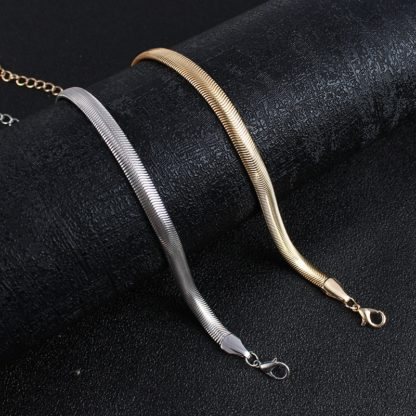 Módní plochý hadí řetízkový náramek na kotník