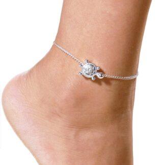 Evil Lamour kotníkový náramek na nohu s přívěškem želvy stříbrný